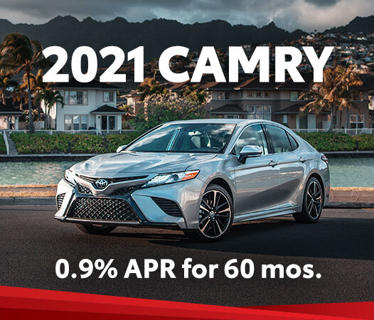 Take advantage of 0.9% APR for up to 60 months on a new 2021 Camry.